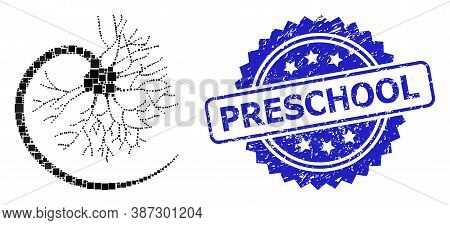 Vector Collage Neuron, And Preschool Textured Rosette Seal Imitation. Blue Stamp Seal Contains Presc