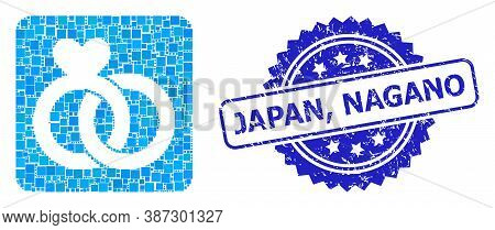Vector Mosaic Wedding Rings, And Japan, Nagano Corroded Rosette Stamp Seal. Blue Stamp Seal Has Japa