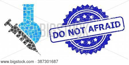 Vector Collage Vaccine Labs, And Do Not Afraid Unclean Rosette Stamp Seal. Blue Stamp Seal Contains