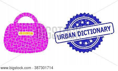 Vector Mosaic Handbag, And Urban Dictionary Dirty Rosette Stamp. Blue Stamp Contains Urban Dictionar