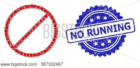 Vector Mosaic Restrict, And No Running Grunge Rosette Stamp Seal. Blue Stamp Contains No Running Tag