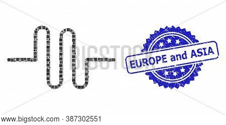 Vector Mosaic Pipeline, And Europe And Asia Unclean Rosette Seal. Blue Stamp Seal Contains Europe An