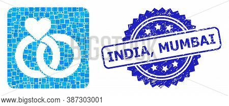 Vector Mosaic Wedding Rings, And India, Mumbai Rubber Rosette Seal Imitation. Blue Seal Includes Ind