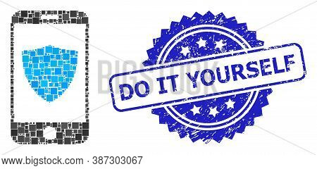 Vector Collage Smartphone Shield, And Do It Yourself Scratched Rosette Stamp Seal. Blue Seal Has Do