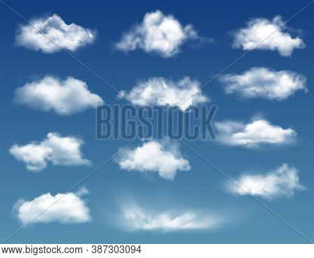 Realistic Clouds In Blue Sky Or Heaven Background. Vector White Soft And Fluffy Spindrift Or Cumulus