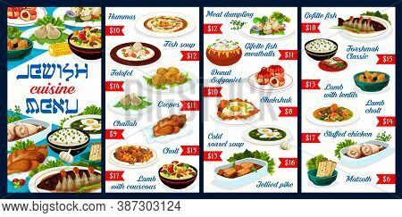 Jewish Food Restaurant Dishes Menu. Jewish Cuisine Meals With Lamb And Chicken Meat, Sweet Pastry An