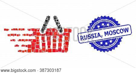Vector Mosaic Shopping Basket, And Russia, Moscow Unclean Rosette Stamp. Blue Stamp Includes Russia,