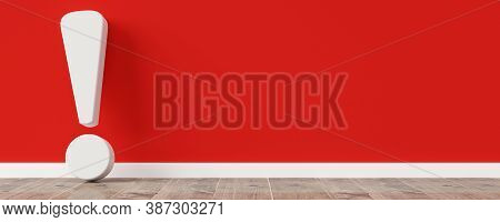 White Exclamation Mark Or Point Symbol Leaning Against Red Wall On Wooden Floor Room With Copy Space