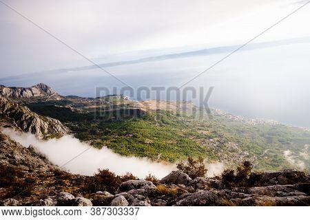 View From The Mountain Biokovo. Mountain Landscape, Croatia. Top View, Beautiful Cloud