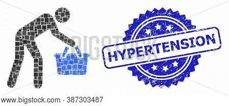 Vector Collage Tired Buyer Persona, And Hypertension Unclean Rosette Seal Imitation. Blue Stamp Seal