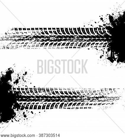 Tire Prints, Car Tyre Tracks Isolated Grunge Vector Marks. Offroad Auto Or Bike Race, Vehicle Wheels