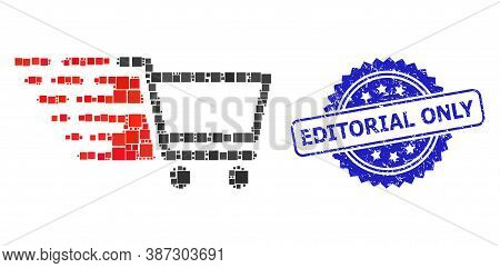 Vector Collage Shopping Cart, And Editorial Only Corroded Rosette Stamp Seal. Blue Stamp Seal Includ