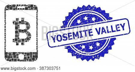 Vector Mosaic Mobile Bitcoin Bank, And Yosemite Valley Scratched Rosette Stamp Seal. Blue Stamp Seal