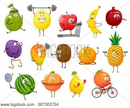 Cartoon Fruits Sportsmen, Vector Pear, Lemon And Apple, Banana, Pomegranate And Prune With Mango. Ki