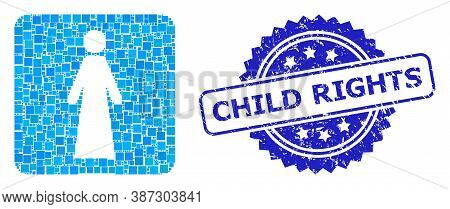 Vector Mosaic Woman, And Child Rights Corroded Rosette Stamp Seal. Blue Stamp Seal Includes Child Ri