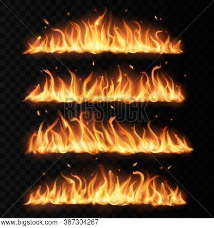 Fire Tongues, Long Burning Realistic Vector Flame With Particles, Flying Sparks And Embers. Burning