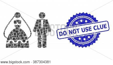 Vector Collage Marriage Persons, And Do Not Use Clue Corroded Rosette Stamp. Blue Seal Contains Do N