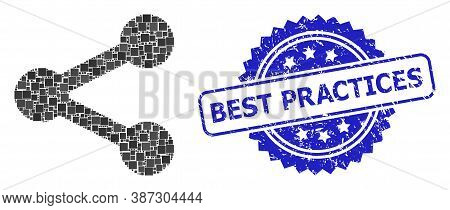 Vector Mosaic Share, And Best Practices Corroded Rosette Stamp Seal. Blue Stamp Seal Includes Best P
