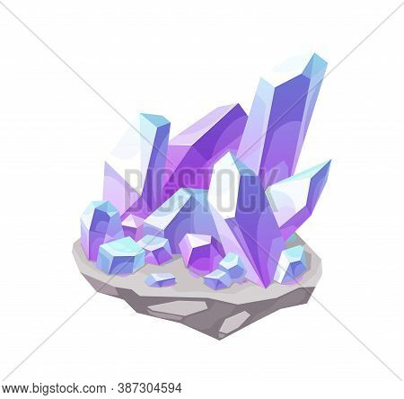 Magic Crystal, Lilac Gem Stone Vector Icon. Mineral Violet Rock, Isolated Crystalline Gemstone Chrys