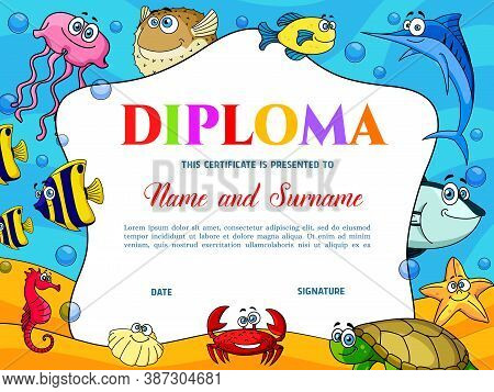 Kids Education Diploma With Puffer Fish, Crab And Turtle. School Or Kindergarten Certificate Vector