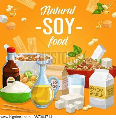 Soy Food, Natural Soybean Products Vector Sauce, Flour And Tofu Cheese, Legume Soybeans, Tempeh And