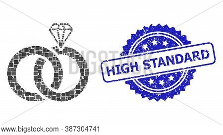 Vector Mosaic Jewelry Wedding Rings, And High Standard Grunge Rosette Stamp Seal. Blue Stamp Seal In