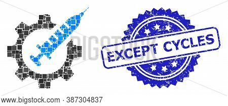 Vector Collage Vaccine Industry, And Except Cycles Rubber Rosette Seal Imitation. Blue Stamp Seal In