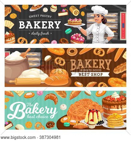 Bakery Shop Food And Baker In Toque Carton Vector. Woman In Chef Toque, Female Baker Holding Cake On