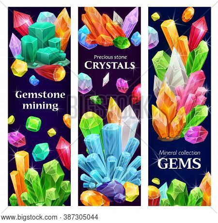 Crystal Gems, Gemstones Cartoon Vector Banners With Jewel, Gem Stones Mining. Natural Multicolored J