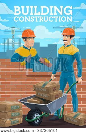 Building Construction Workers. Mason Or Bricklayer Laying Bricks With Trowel, Builder Characters Lay