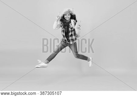Keep Moving. Winter Season Concept. Kid Girl Wear Hat With Ear Flaps. Winter Events At School. Winte