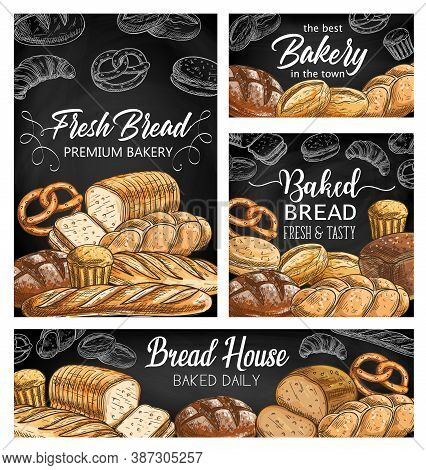 Bakery Fresh Bread Sketch Vector Banners. Baguette And Bloomer Loaf, Wheat, Rye Cob Or Boule, Vienna