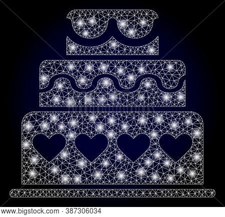 Shiny Mesh Polygonal Marriage Cake With Light Spots. Illuminated Vector Model Created From Marriage