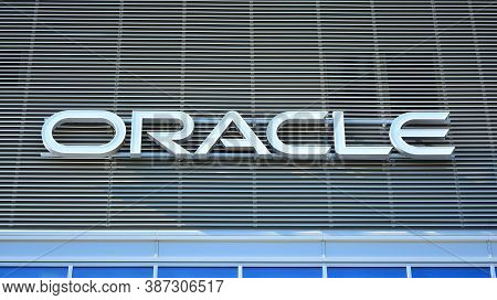 Warsaw, Poland. 28 September 2020. Sign Oracle. Company Signboard Oracle.