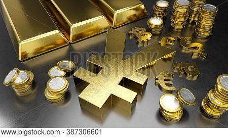Yuan Stands Out From Other Currencies. Yuan Strengthening. Gold Bars, Golden Coins And Currency Symb