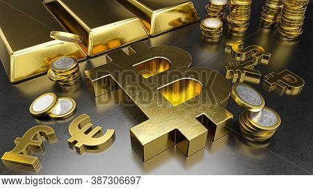 Bitcoin Stands Out From Other Currencies. Bitcoin Strengthening. Gold Bars, Golden Coins And Currenc