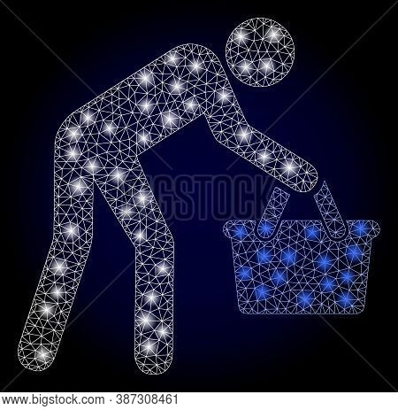 Glowing Mesh Polygonal Tired Buyer Persona With Light Spots. Illuminated Vector Constellation Create