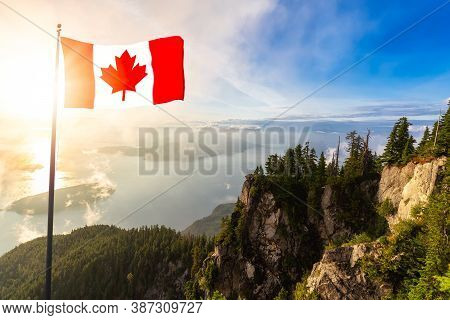 Canadian National Flag Composite. Beautiful View Of Mountain Landscape During A Colorful Sunny Sunse