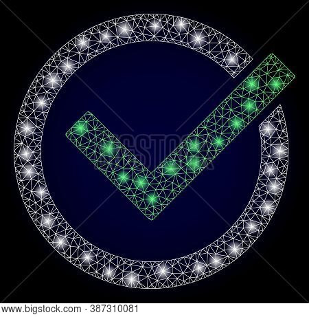 Glowing Mesh Polygonal Accept Tick With Glowing Spots. Illuminated Vector Constellation Created From
