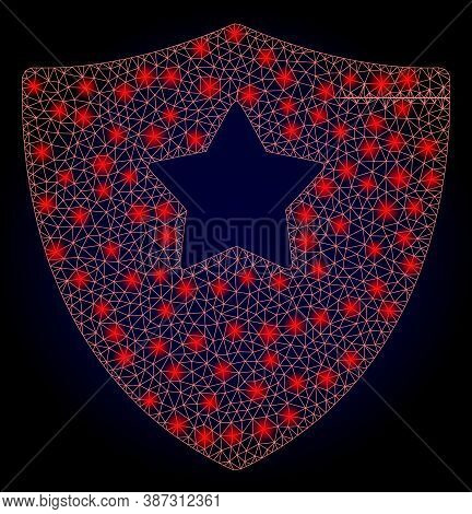 Bright Mesh Polygonal Guard Shield With Glowing Spots. Illuminated Vector Model Created From Guard S