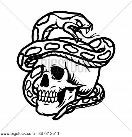 Snake Entwined With Skull Template In Vintage Style Isolated Vector Illustration