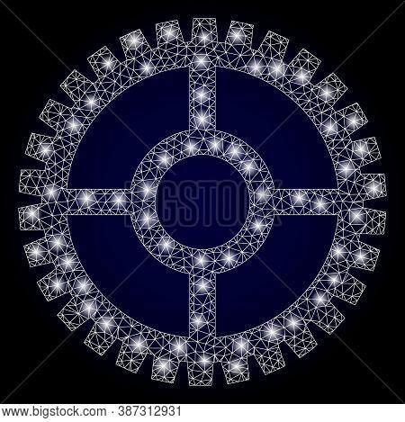 Shiny Mesh Polygonal Clock Cog With Lightspots. Illuminated Vector Constellation Created From Clock