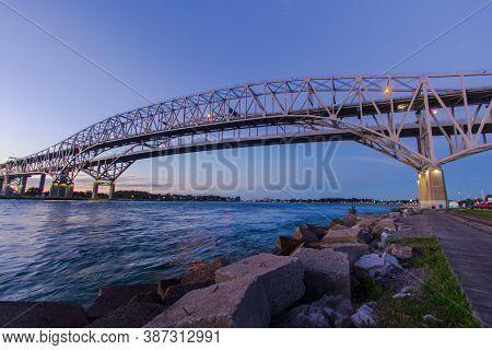 Port Huron, Michigan, Usa - August 31, 2020: International Border Crossing At The Blue Water Bridge