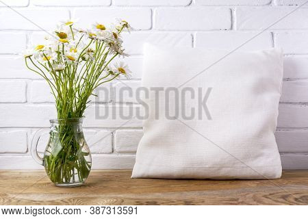 Pillow Mockup With Daisy Wildflowers