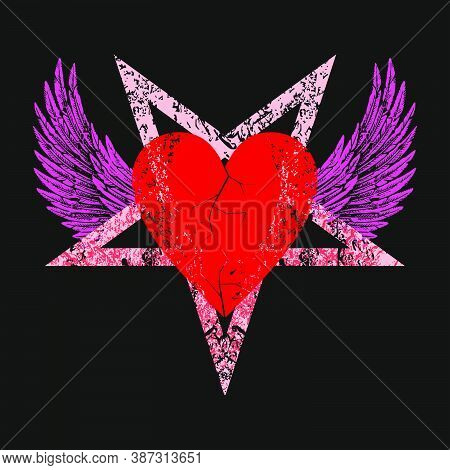 Vector Illustration Of A Red Heart On A Winged Pentagram On Black Background. Love Symbol For Valent