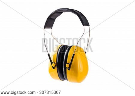 Yellow Working Protective Headphones Ear Muffs Prevent Loud Noise From Working Construction Equipmen