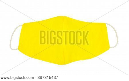 Green Handmade Washable Cotton Cloth Protective Mask Isolated On White Background. Anti-virus Or Ant