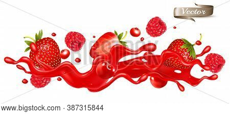 Red Berry Juice Splash Wave. Whole And Sliced Strawberry, Raspberry, Cherry, Blueberry And Blackberr