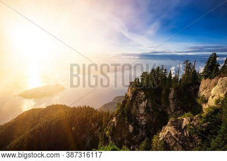 Beautiful View Of Canadian Mountain Landscape During A Colorful Sunny Sunset. Taken On St. Marks Sum