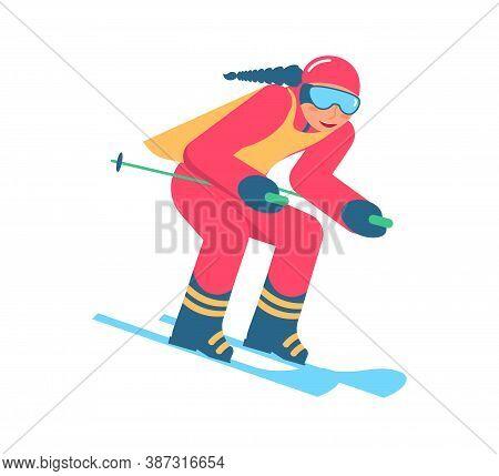 Beginner Skier Doing Exercise At Alpine Skiing Lesson. People In Mountain Ski School. Flat Art Vecto